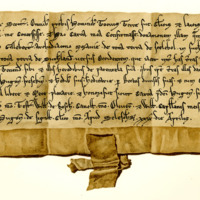 Charter by King William the Lion confirming preceding charter by Hugo Freskyn to Gilbert, Archdeacon of Moray, of the lands of Skelbo and others in Sutherland, 29th April, c. 1212