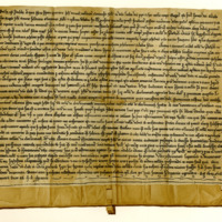 Charter by John Romanus, Subdean of York, to the Monastery of Jedburgh, of the Church of Aberlemno, 15th December 1238