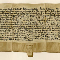 Charter by Thomas Sibbald, Lord of Balgony, to Eve, his daughter, and Peter of Balgony, her husband, of the lands of Dovyn, c. 1390