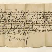 License by King James V to Archibald Douglas of Glenbervie to remain at home from the army. Edinburgh, 22nd October 1528