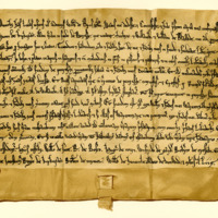 Charter by William de Bruce to Ivo of Kirkpatrick, of the lands in Pennersax, called Thorbrec, and Williambi and Blacwde, 1194-1214