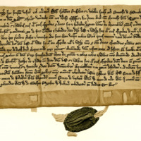 Charter by Sir John Russell and Isabella, Countess of Menteith, to Sir Hugh of Abernethy, of land in Aberfoyle, c. 1266-1270