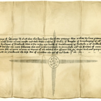 Charter by King James I confirming to Sir William Douglas of Drumlanrig the lands of Drumlanrig, Hawick, and Selkirk. Croydon, 30th November 1412