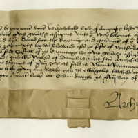 Letter by Archibald, Earl of Angus, granting to David Scott of Buccleuch and his son, David, the keeping of Hermitage Castle. Edinburgh, 17th April 1472