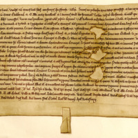 Charter by King Malcolm the Maiden to the canons of Jedburgh, of the church of Restinoth, 1153-1165