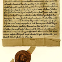 Charter by John, son of Michael, to the Monks of Melrose, of the lands of Pensheil in the Lammermoors, c. 1230