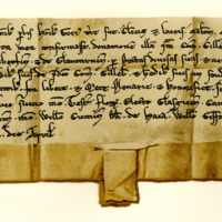 Charter by King William the Lion confirming a gift by Gilbert, Earl of Strathearn, to Gilchrist, his son, of the lands of Kinveachie and Glencarnie, 16th April, c. 1205