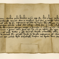 Charter by King Robert II confirming a gift by Sir John Stewart of Innermeath to his brother, Robert, of an annuity from Durrisdeir. Edinburgh, 20th April 1385
