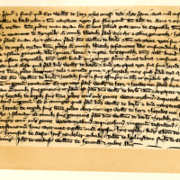 Charter by Sir William of Heriz to Sir William of Carlisle, and Margaret, his wife, daughter of the deceased Sir Robert Bruce, of an acre of land and a salt pit in the dale of Annan, c. 1290