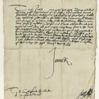 Letter by King James VI to David Wemyss of that Ilk, to send Archie Armstrong's son to Falkland. Stirling, 25th April 1579