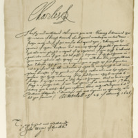 Letter by King Charles I to Sir John Wemyss of Wemyss offering him a Nova Scotia Baronetcy. Whitehall, 24th March 1626