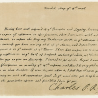 Letter by Prince Charles Edward to George Borrodale, third Earl of Cromarty, 8th August 1745