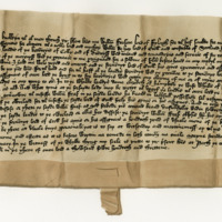 Disposition by William Fraser of Philorth to William Hay, Lord of Erroll, of the baronies of Cowie and Durris. Perth, 10th October 1413
