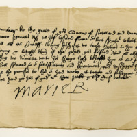 Letter by Mary, Queen of Scots, to Robert Melville, acknowledging the receipt of jewels, &c., entrusted to her while in the Castle. Bolton Castle, 15th October 1568