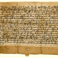 Charter by Robert de Graham, Lord of Weyliston, to the Church of St Mary of Melrose, of the patronage of the Church of Torbolton, 11th July 1342