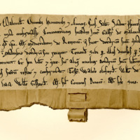 Charter by Richard Melville confirming an agreement between Galfrid of Melville and Matilda, his mother, about the lands of Stenhouse, 1165-1189