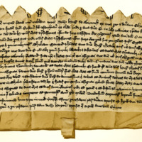 Indenture between Sir Hugh of Abernethy and Lady Ethona [or Ethena], widow of Sir Christine, in regard to her terce lands of Argyll and Athole, 16th May, c. 1277