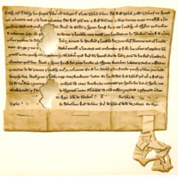 Charter by Thomas Noble, son of Sir Ralph Noble, to Sir David Graham and his spouse, of lands in Ilieston, 30th January 1255