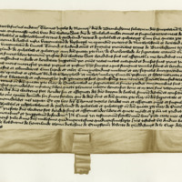 Charter by Thomas Inglis of Menar to Sir Walter Scott of Buccleuch, of the lands of Branksome and others. Edinburgh, 23rd July 1446