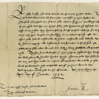 Letter by Queen Anne of Denmark to David Wemyss of Wemyss, about Margaret Vintar. Holyrood, 9th November 1592