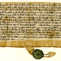 Charter by Robert Brun, younger, of Preston to Sir Alexander of Boncle, of the lands of Preston, c. 1270-1280