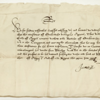 Letter by King James VI, changing the ward of the Earl of Angus from Stirling Castle to Edinburgh. Stirling, August 1591