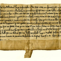 Charter by Hugo Freskyn to Gilbert, Archdeacon of Moray, of the lands of Skelbo and others in Sutherland, c. 1211