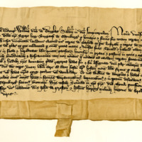 Charter by William, Lord of Douglas, to Roger Hog, of the Bernys of Abthen of Ratho, c. 1356